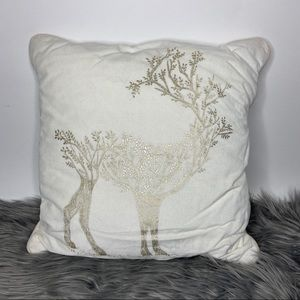 "Threshold  Foil Reindeer ""Sour Cream"" Throw Pillow"